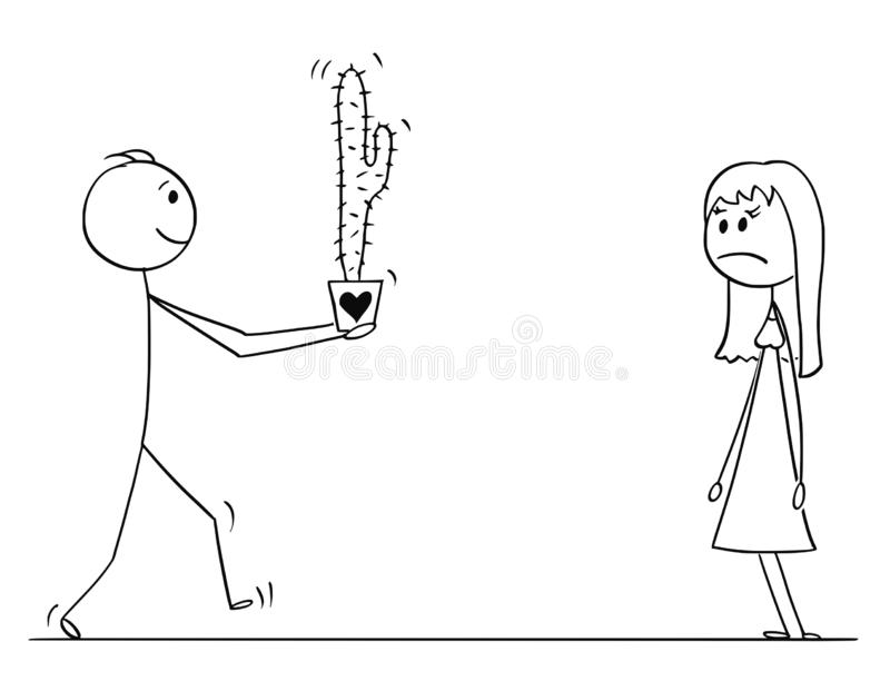 Stick Character Cartoon of Loving Man or Boy Giving Cactus Plant Flower to Woman or Girl on Date royalty free illustration