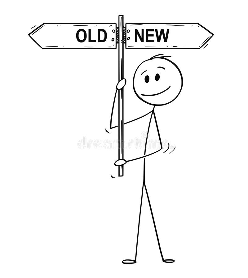 Cartoon of Man or Businessman Holding Old or New Arrow Signpost. Cartoon stick drawing conceptual illustration of man or businessman holding arrow signpost or stock illustration