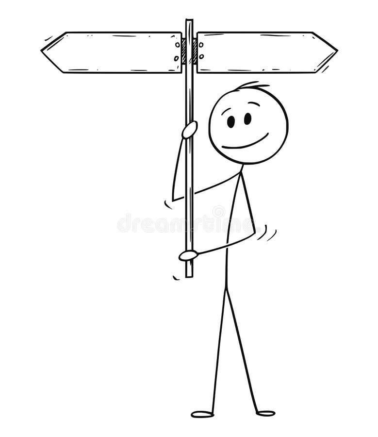 Cartoon of Man or Businessman Holding Empty Arrow Signpost vector illustration