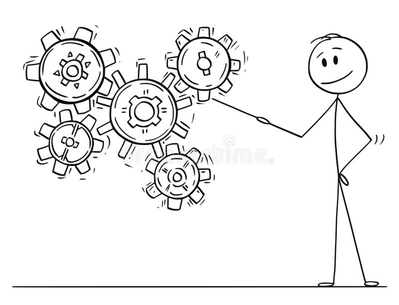 Cartoon of Man or Businessman Pointing at Working Cogwheels or Cog or Gear Wheels. Cartoon stick drawing conceptual illustration of man or businessman pointing royalty free illustration