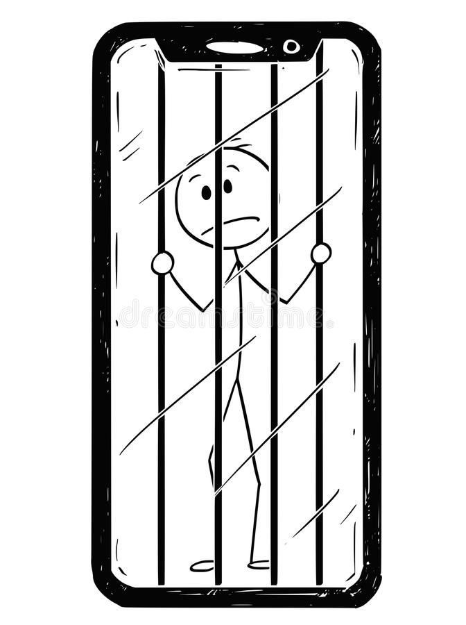 Cartoon of Man or Businessman Trapped Inside His Mobile Phone. Cartoon stick drawing conceptual illustration of man or businessman trapped inside of his mobile stock illustration
