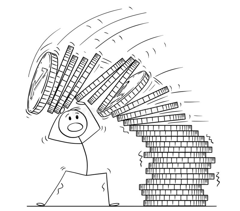 Cartoon of Man or Businessman Under Falling Pile of Coins. Cartoon stick drawing conceptual illustration of man or businessman under falling pile of coins royalty free illustration