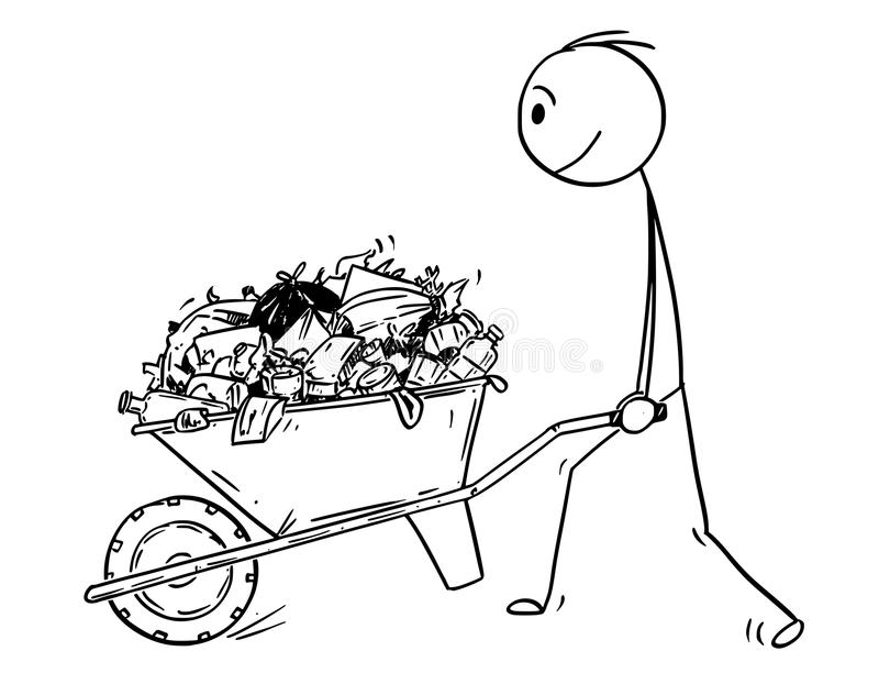 Cartoon of Man pushing Wheelbarrow Full of Garbage vector illustration