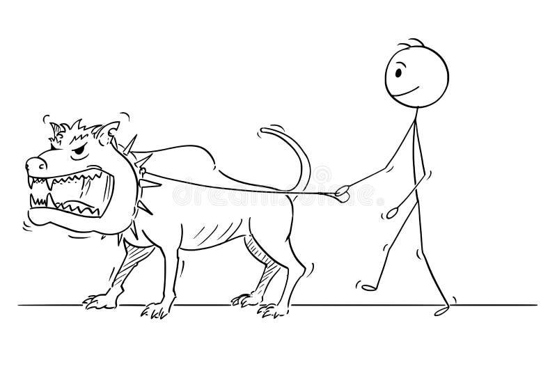 Cartoon of Man Walking With Beast Monster Dangerous Big Dog. Cartoon stick drawing conceptual illustration of man walking with big or giant dangerous monster vector illustration