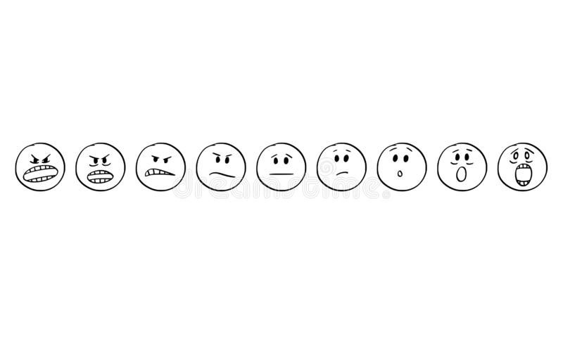 Cartoon of Set of Smiley Faces Showing Emotions From Aggression to Scare or Fear royalty free illustration