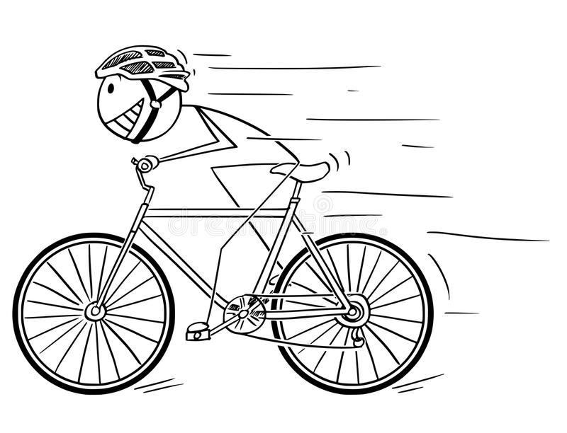 Cartoon of Man With Helmet Riding Fast on Bicycle. Cartoon stick drawing illustration of man in helmet riding or cycling fast on bicycle stock illustration
