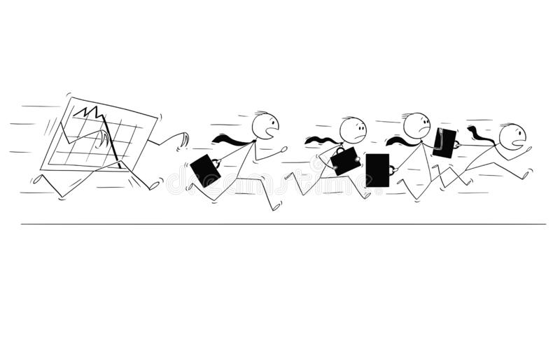 Cartoon of Group or Team of Businessmen Running in Panic Away From Falling Graph stock illustration