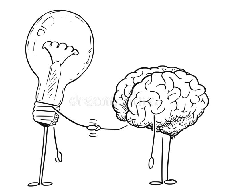 Cartoon Drawing of Brain and Lightbulb Characters Shaking Hands vector illustration
