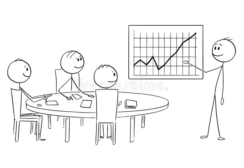 Cartoon of Businessman Presenting Good Financial Results on Business or Work Meeting. Cartoon stick figure drawing conceptual illustration of businessman vector illustration