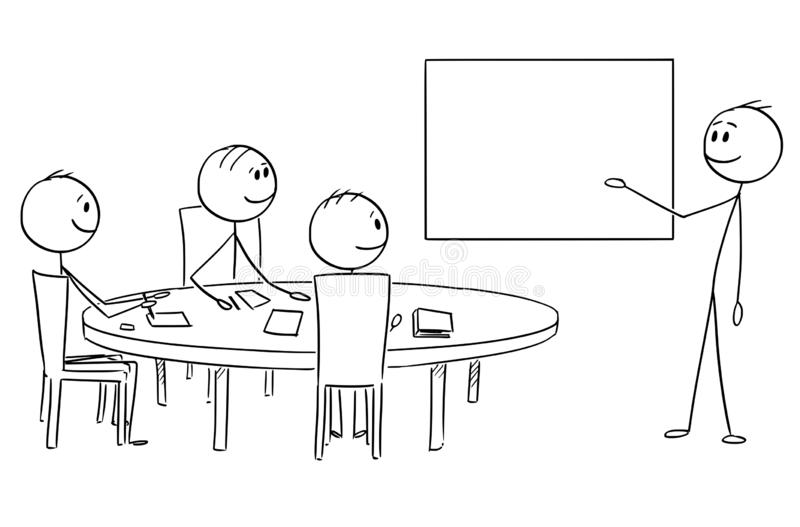 Cartoon of Businessman Presenting Empty Table on Business or Work Meeting. Cartoon stick figure drawing conceptual illustration of businessman presenting success stock illustration