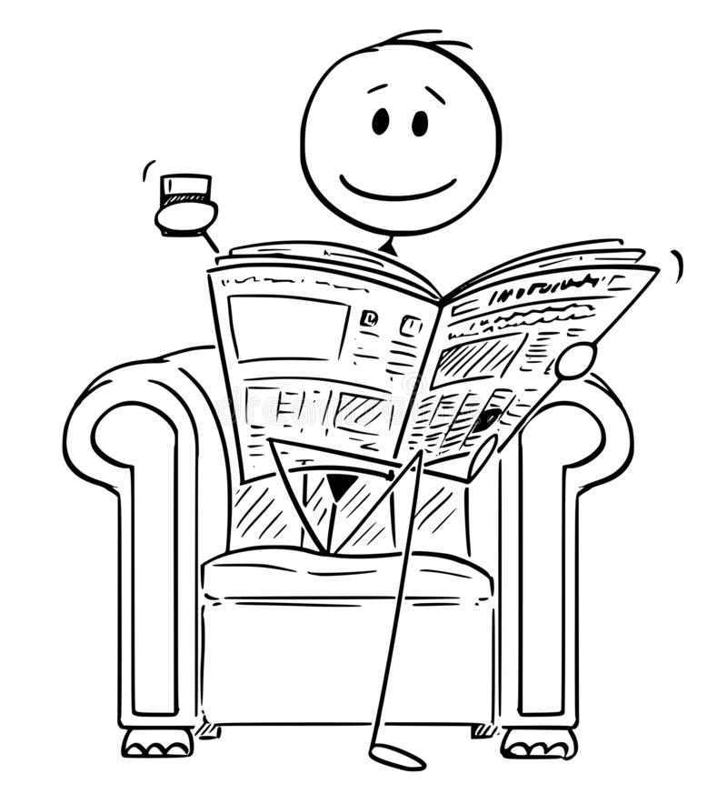 Cartoon of Successful Businessman Sitting in Chair and Reading Newspapers. Cartoon stick figure drawing conceptual illustration of businessman sitting in stock illustration