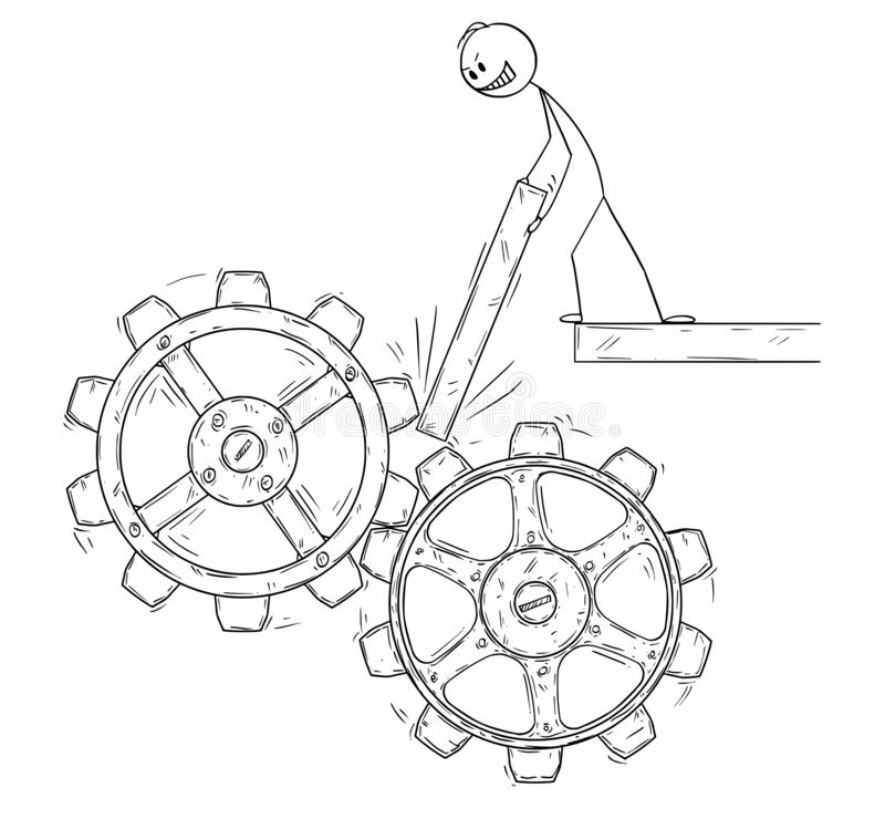 Cartoon of Man or Businessman Trying to Stop the Machine Cogwheels royalty free illustration