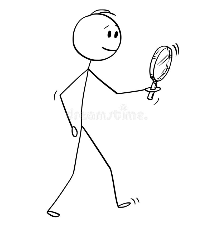 Cartoon of Man Searching With Magnifying Glass or Magnifier. Cartoon stick figure drawing conceptual illustration of man searching with magnifying glass or vector illustration
