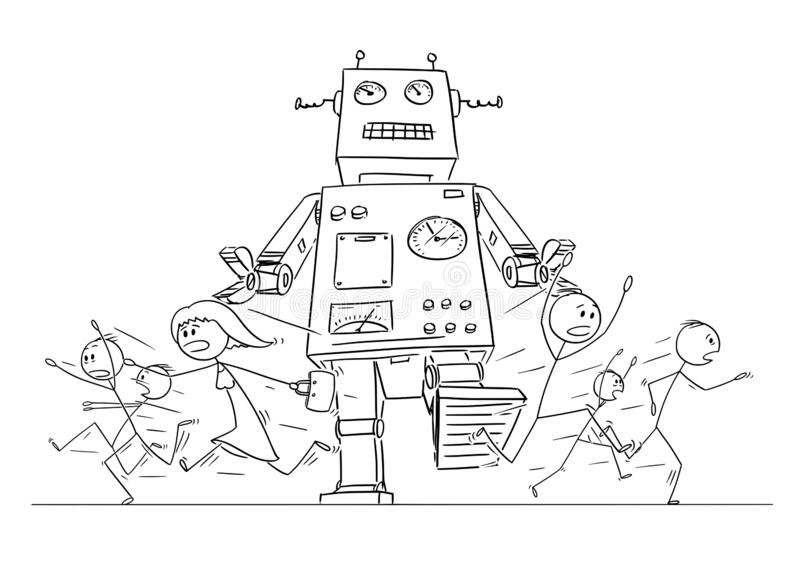 Cartoon Drawing of Crowd of People Running in Panic Away From Giant Retro Robot stock illustration