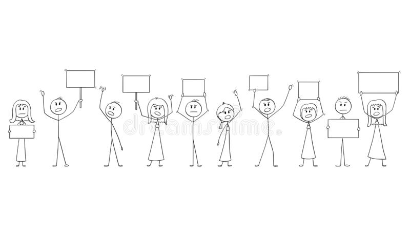 Cartoon Drawing of Group of People Protesting With Empty Signs royalty free illustration