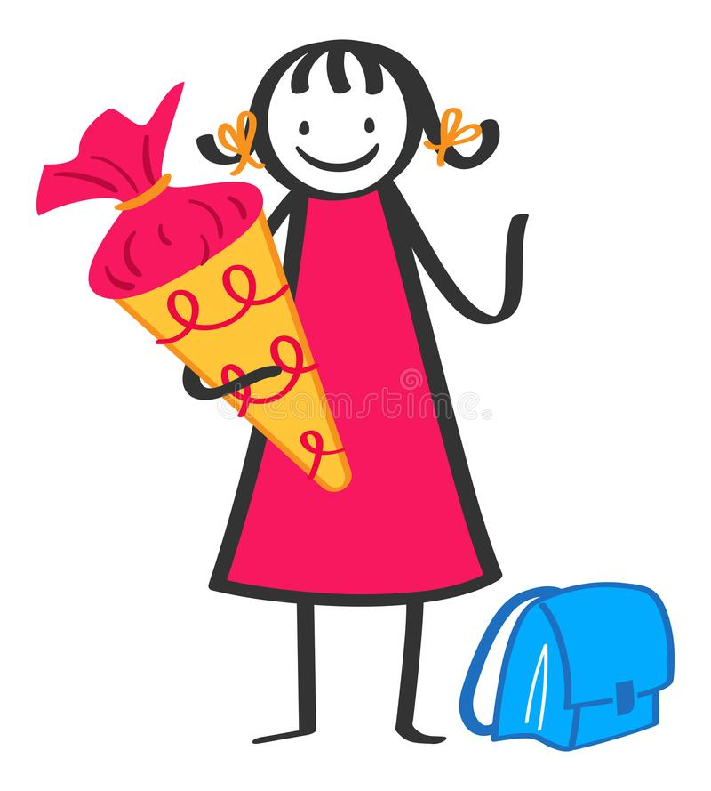 Cartoon stick figure school kid holding large cardboard cornet on her first day at school, German schoolgirl. Isolated on white background stock illustration