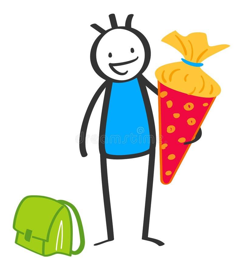 Cartoon stick figure school kid holding large cardboard cornet on his first day at school, German schoolboy royalty free illustration