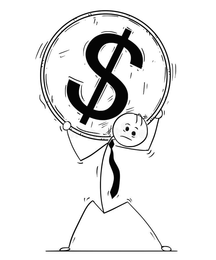 Conceptual Cartoon of Businessman Carry Big Dollar Coin vector illustration