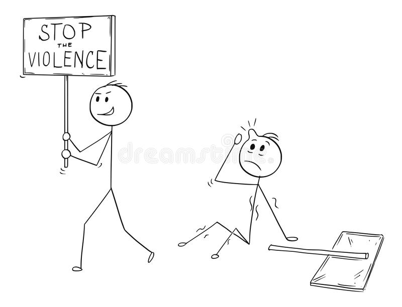 Cartoon of Businessman Walking with Stop Violence Sign After he Hit Another Man with Sign. Cartoon stick man drawing conceptual illustration of businessman vector illustration