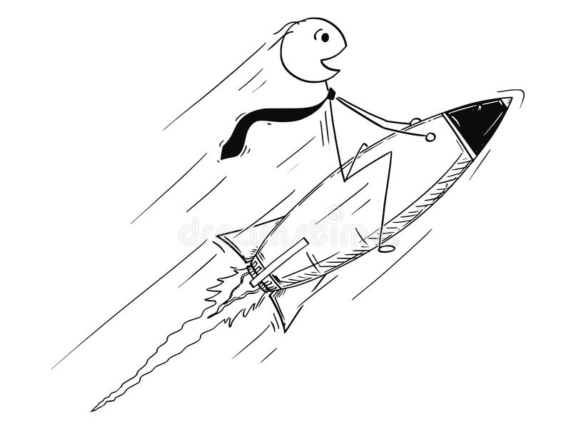 Conceptual Cartoon of Business Success. Cartoon stick man drawing conceptual illustration of businessman driving rocket on his way to success. Business concept royalty free illustration