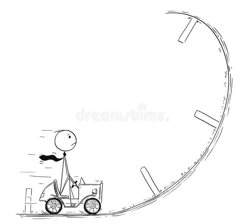 Conceptual Cartoon of Businessman Facing Crisis. Cartoon stick man drawing conceptual illustration of businessman driving small car facing obstacle or problem in stock illustration