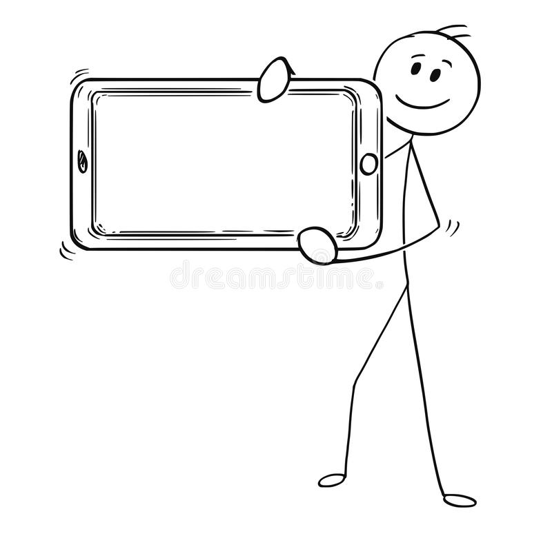 Cartoon of Man or Businessman Holding Large Mobile Phone as Empty or Blank Sign. Cartoon stick man drawing conceptual illustration of businessman holding large royalty free illustration