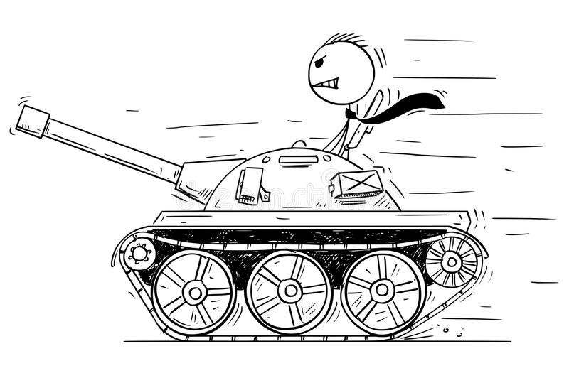 Cartoon of Businessman or Politician in Small Tank. Concept of War as Game. Cartoon stick man drawing conceptual illustration of businessman or politician in royalty free illustration
