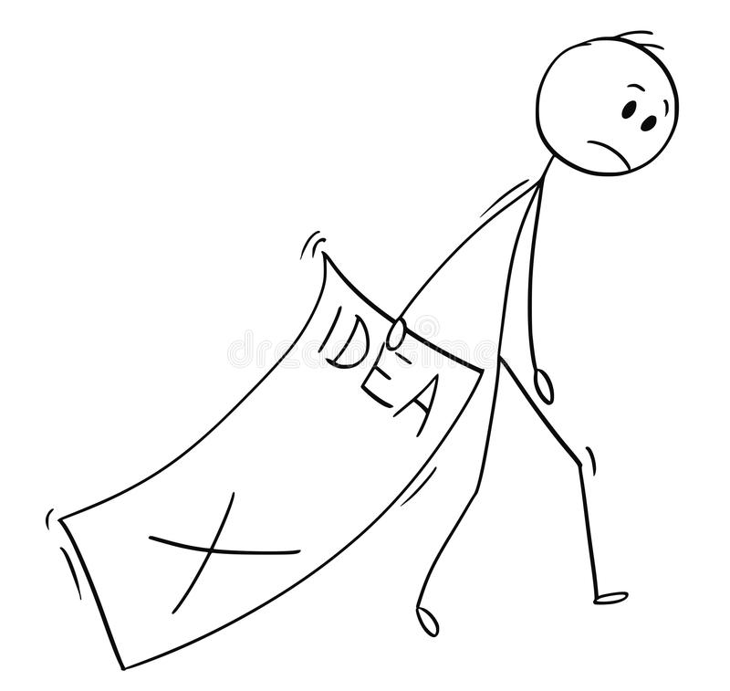 Cartoon of Sad Businessman Trailing Big Paper Sheet With Rejected Idea royalty free illustration