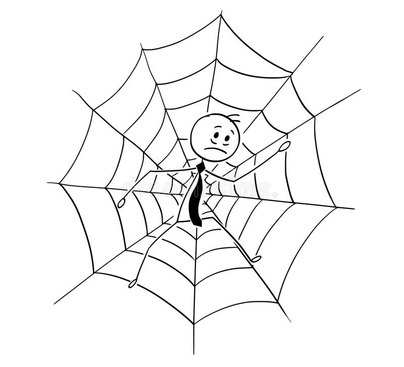 Cartoon of Businessman Trapped in Spider Web stock illustration