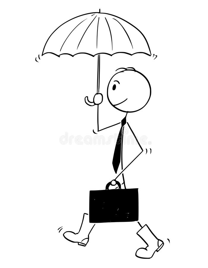Conceptual Cartoon of Businessman Ready for Crisis. Cartoon stick man drawing conceptual illustration of businessman with umbrella and rubber or gum high boots royalty free illustration