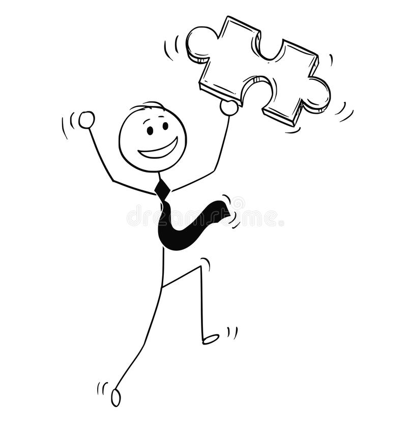 Cartoon of Happy Businessman with Jigsaw Puzzle Piece in Hand. Cartoon stick man drawing conceptual illustration of happy businessman with jigsaw puzzle piece in vector illustration