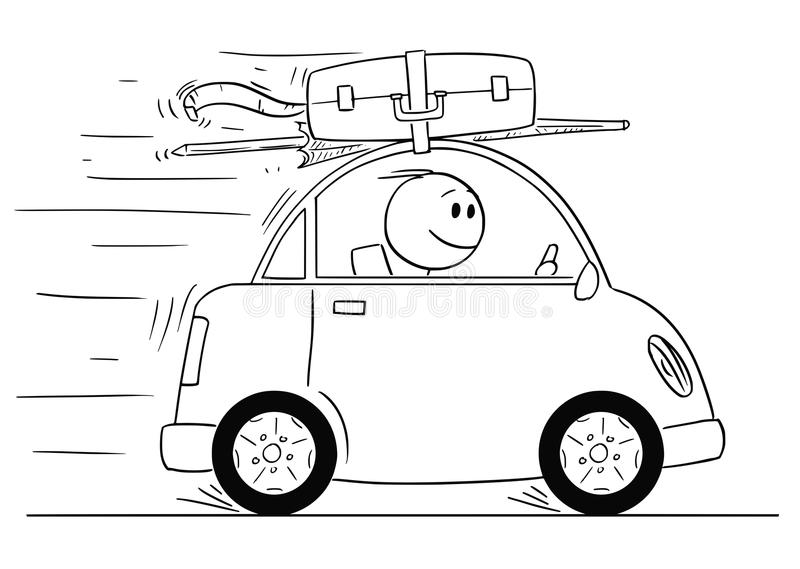 Cartoon of Smiling Man Going in Small Car On Vacation or Holiday stock illustration