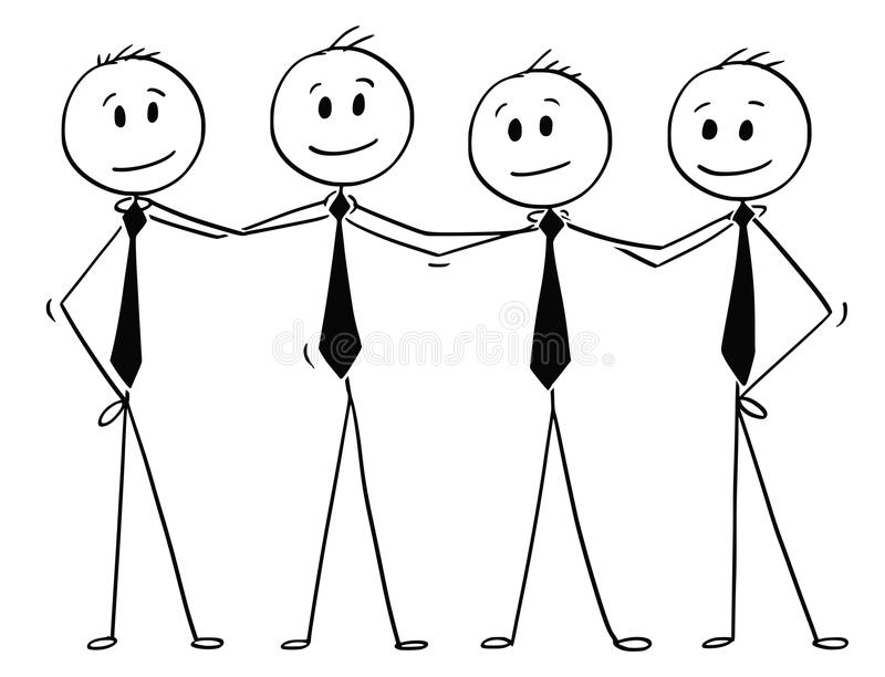 Cartoon of Team of Business People Standing and Holding Shoulders. Cartoon stick man drawing conceptual illustration of team of business people standing and vector illustration