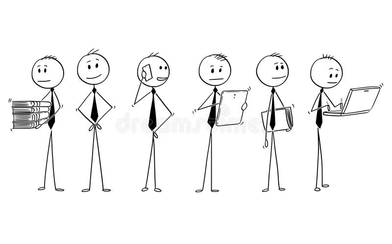 Cartoon of Team or Group of Businessmen Doing Office Work. Cartoon stick man drawing conceptual illustration of team or group of six businessman doing typical royalty free illustration