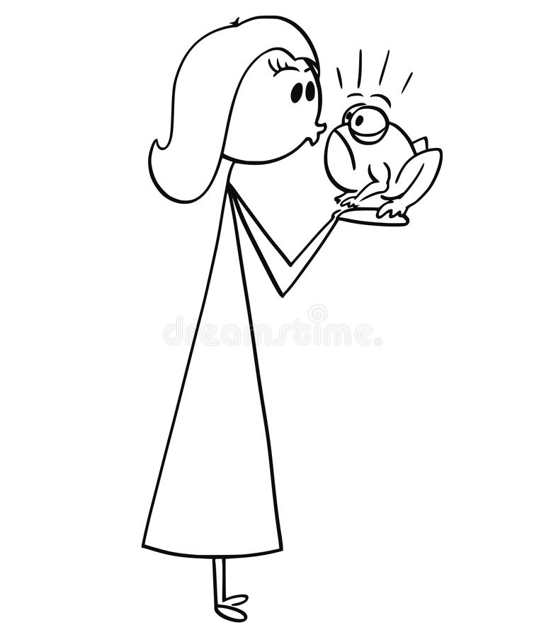 Cartoon of Woman Kissing a Frog stock illustration