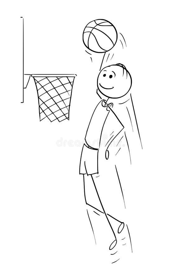 Vector Cartoon of Basketball Player Scoring Goal stock illustration