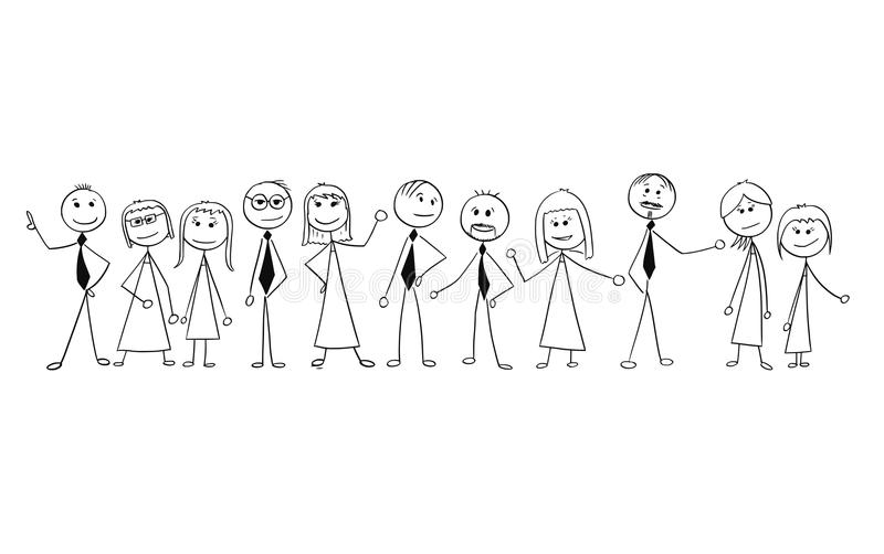 Cartoon of Crowd of Business People Isolated. Cartoon stick man drawing illustration of crowd of eleven business people, men and women, businessmen and vector illustration
