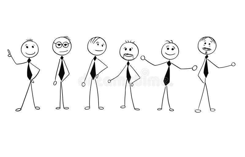Cartoon of Crowd of Business Businessmen Men People Isolated. Cartoon stick man drawing illustration of crowd of six business people, men, businessmen standing stock illustration
