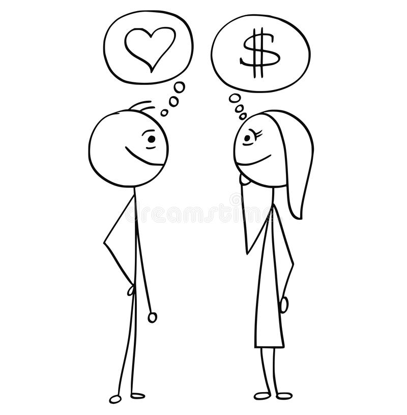 Vector Cartoon of Man and Woman Talking about Money and Love. Cartoon stick man drawing illustration of difference between man and woman talking about money stock illustration
