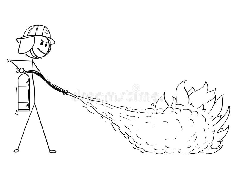 Cartoon of Firefighter Using Extinguisher to Fight the Fire stock illustration