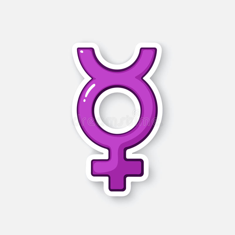 Cartoon sticker with transgender Mercury symbol stock illustration