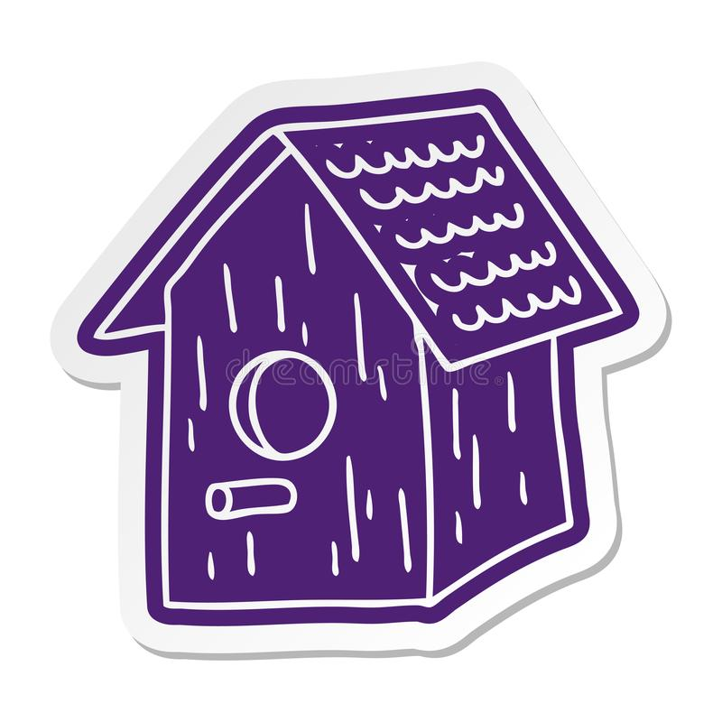 Cartoon sticker of a wooden bird house. A creative cartoon sticker of a wooden bird house vector illustration