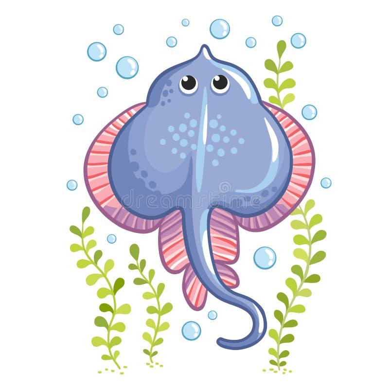 Cartoon Stingray fish in . Stingray sea collection design. Stingray isolated on white background royalty free illustration