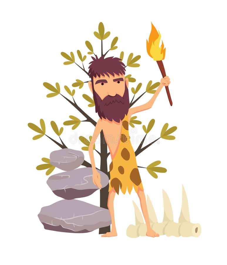 Cartoon stone age man with torch. Ancient people vector symbol stock web illustration. Cartoon stone age man with torch. Ancient people vector symbol stock web royalty free illustration
