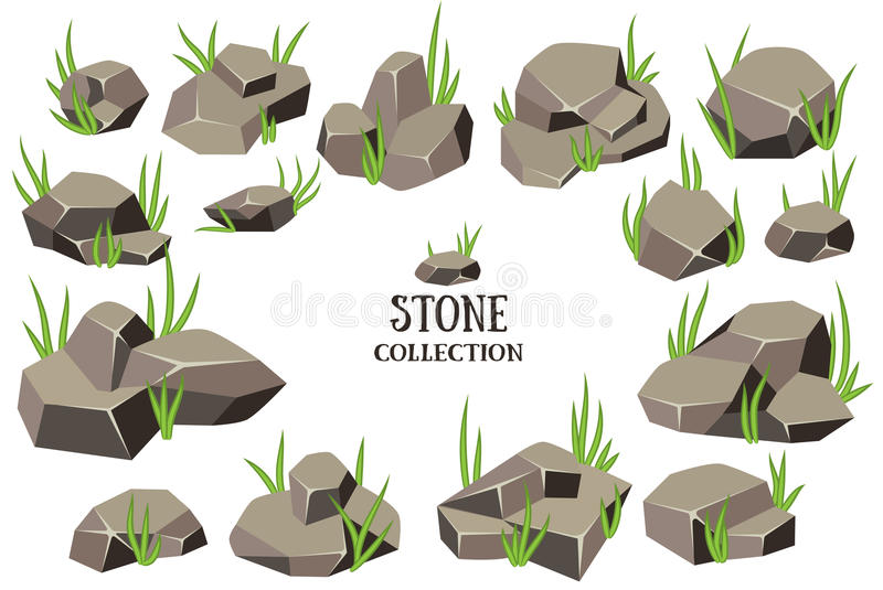 Cartoon stone set. Grey rock with grass collection. Vector illustration isolated on white background royalty free illustration