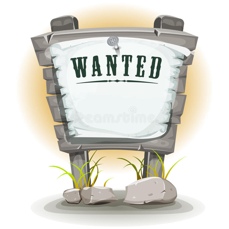 Cartoon Stone Sign With Wanted On Torn Paper royalty free illustration