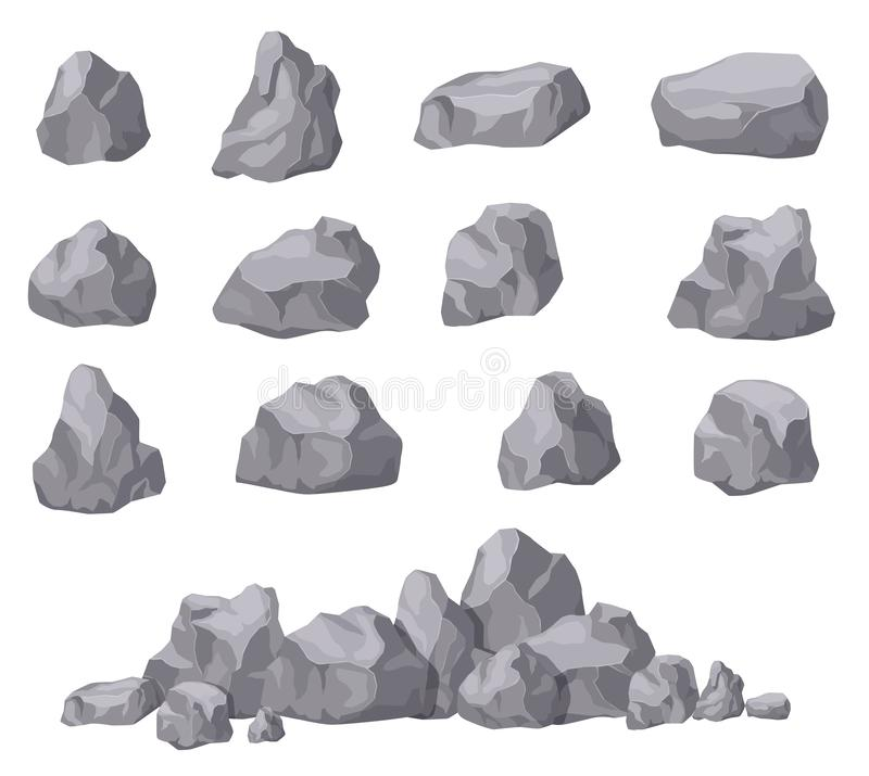 Cartoon stones. Rock stone isometric set. Granite boulders, natural building block shapes. 3d decoration isolated vector. Collection. Illustration of boulder royalty free illustration