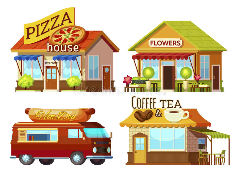 Cartoon Storefronts Set. Cartoon style street restaurant fronts and food truck set with signs and carpets of different colour vector illustration stock illustration