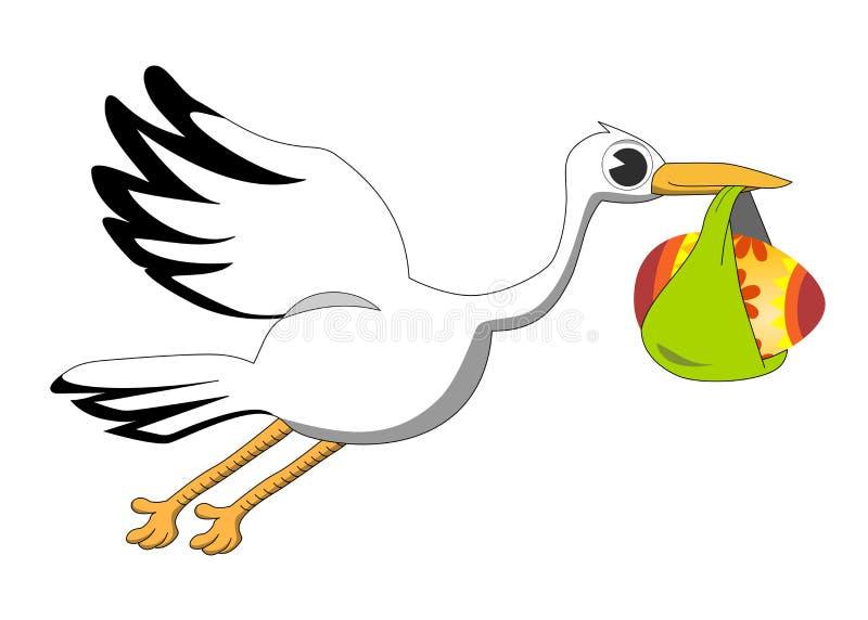 Cartoon Stork Bringing Decorated Egg Royalty Free Stock Photo
