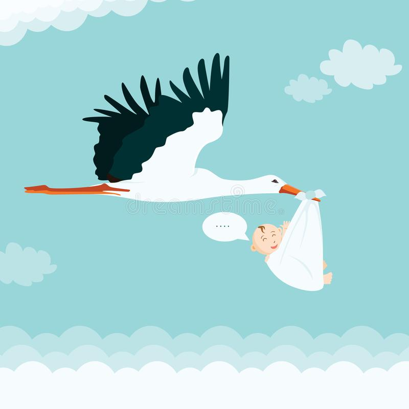 Cartoon Stork Carrying Baby. Boy Stork Baby Shower Vector Illustration vector illustration